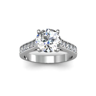 14k White Gold 2 1/2ct. Diamond Engagement Ring with 2ct. Clarity Enhanced Solitaire Center Diamond - White H-I