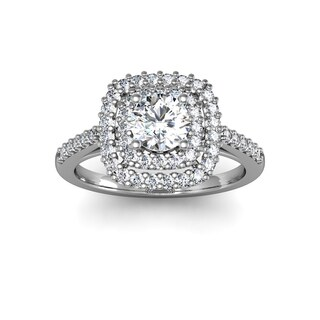 14k White Gold 1ct. Double Halo Engagement Ring with Clarity Enchanced Center Diamond - White H-I