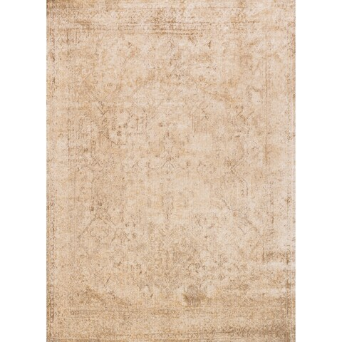 Traditional Ivory/ Light Gold Distressed Rug - 3'7 x 5'7