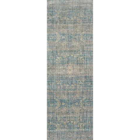 Traditional Light Blue/ Mist Floral Distressed Runner Rug - 2'7 x 12'