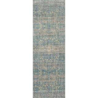 Contessa Light Blue/ Mist Runner Rug (2'7 x 12'0)