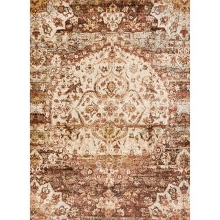 Traditional Rust/ Ivory Medallion Distressed Rug - 9'6 x 13'