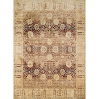 Traditional Red/ Gold Floral Distressed Rug - 7'10 x 10'10