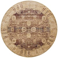 Traditional Red/ Gold Floral Distressed Round Rug - 7'10 x 7'10