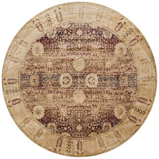 Traditional Red/ Gold Floral Distressed Round Rug - 9'6 x 9'6