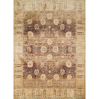 Traditional Red/ Gold Floral Distressed Rug - 9'6 x 13'