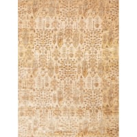 Traditional Antique Ivory/ Gold Floral Distressed Rug - 2'7 x 4'
