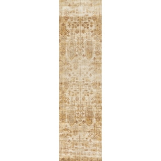 """Traditional Antique Ivory/ Gold Floral Distressed Runner Rug - 2'7"""" x 12' Runner"""
