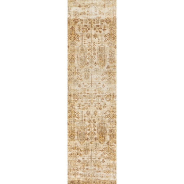 Traditional Antique Ivory/ Gold Floral Distressed Runner Rug - 2'7 x 12'