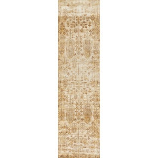 "Traditional Antique Ivory/ Gold Floral Distressed Runner Rug - 2'7"" x 12' Runner"