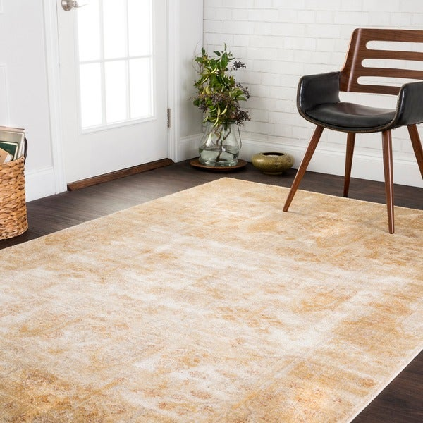 Traditional Antique Ivory/ Gold Floral Distressed Rug - 5'3 x 7'8