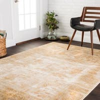Traditional Antique Ivory/ Gold Floral Distressed Rug - 6'7 x 9'2