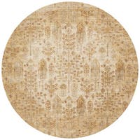 Traditional Antique Ivory/ Gold Floral Distressed Round Rug - 7'10 x 7'10