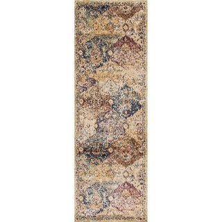 Traditional Ivory/ Multi Damask Distressed Runner Rug - 2'7 x 10'