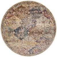 Traditional Ivory/ Multi Damask Distressed Round Rug - 9'6 x 9'6