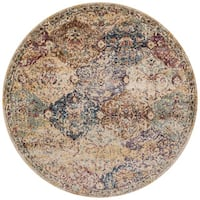 Traditional Ivory/ Multi Damask Distressed Round Rug - 7'10 x 7'10