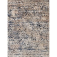 "Traditional Mist/ Blue Distressed Rug - 6'7"" x 9'2"""