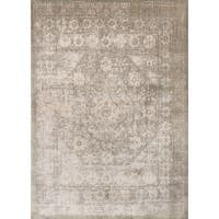 "Traditional Grey/ Sage Medallion Distressed Rug - 9'6"" x 13'"