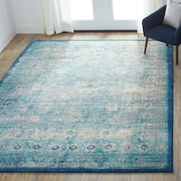 Traditional Light Blue/ Ivory Medallion Distressed Rug - 6'7 x 9'2