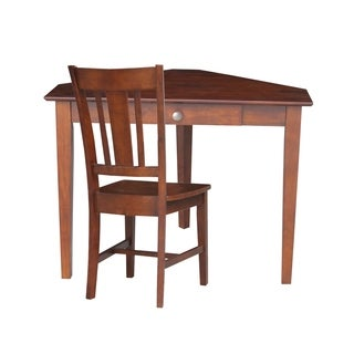 Corner Wooden Desk with Box Seat Chair and Butcher Block Surface