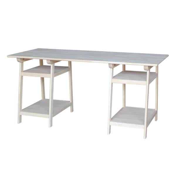 Wooden Loft Desk With Butcher Block Surface Free