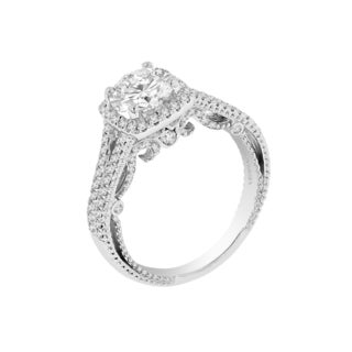 Verragio 18k White Gold Cubic Zirconia 3/8ct TDW Diamonds Semi Mount Ring (VS1-VS2, F-G)
