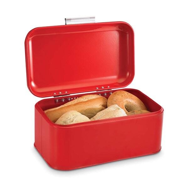 Shop Home Basics Vintage Red Retro Bread Box Free Shipping On
