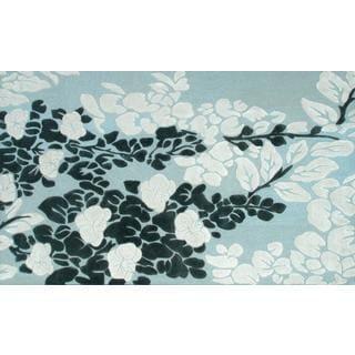 Handmade Wool/Silk Moyo Blue Rug (5' x 8')