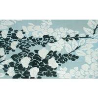 Handmade Wool/Silk Moyo Blue Rug - 5' x 8'