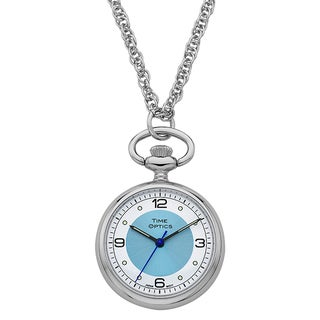 Ladies Silvertone Blue Sunray Accent Dial Pendant Watch with 30-inch Chain