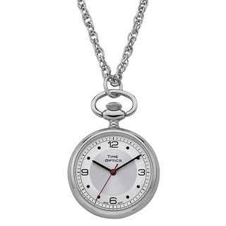 Womens Pendant Watch Silvertone with Silver Sunray Dial