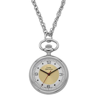 Womans Silvertone Case Pendant Watch, with Gold Sunray Dial Accent, and Chain
