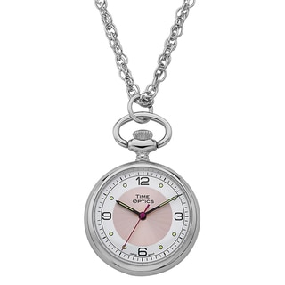 Womans Pendant Watch with Pink Sunray Dial Accent and 30-inch Chain