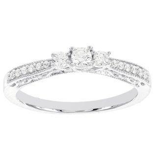 H Star 14k White Gold 1/4ct TDW Three Stone Diamond Engagement Ring (I-J, I2-I3)