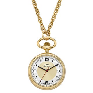 Ladies Pendant Watch Goldtone Case with Goldtone Sunray Dial
