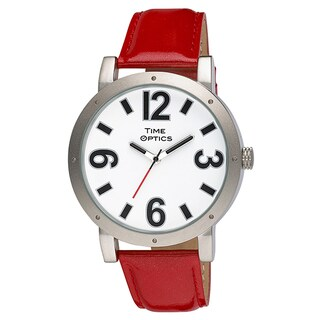 Fashion Oversized Case Watch with Easy to Read Numbers, and Red Patent Leather Strap