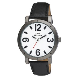 Ladies Fashion Oversized Gunmetal Case Watch with Black Leather Strap
