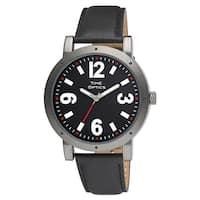Fashion Watch with Oversized Gunmetal Case, Black Dial with Red Accents, and Black Leatherette Strap