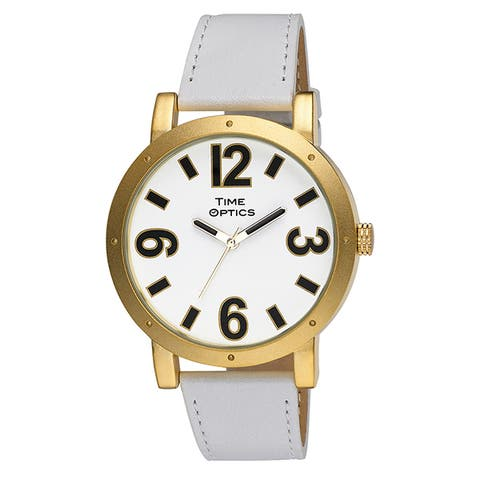 Women's White Dial Goldtone Case Fashion Watch with White Genuine Leather Strap