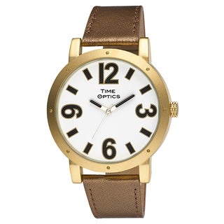 Women's Oversized White Dial Goldtone Case Fashion Watch with Bronze/ Goldtone Genuine Leather Strap