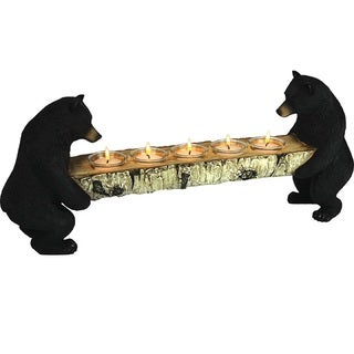 Rivers Edge Bears Holding Log with Votive Candleholders