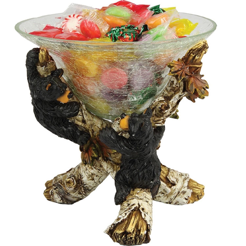 Rivers Edge Cute Bears Glass Candy Dish (Black)