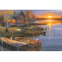 Rivers Edge LED Wall Art Autumn Lake Cabin 24-inch x 16-inch