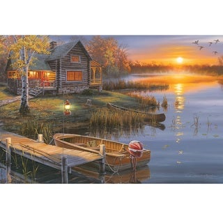 Rivers Edge LED Wall Art Autumn Lake Cabin 24-inch x 16-inch