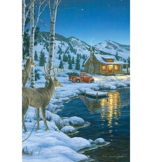 Rivers Edge LED Wall Art Cabin with Deer 24-inch x 16-inch