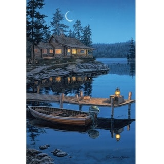 Rivers Edge LED Wall Art Crescent Moon Cabin 24-inch x 16-inch