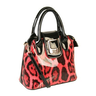 Rimen & Co. Shiny Animal Print Patent PU Leather Snap Closure Handbag