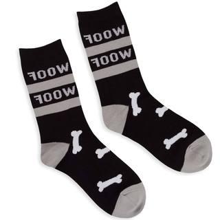 TeeHee Men's Woof Cotton Black Crew Socks