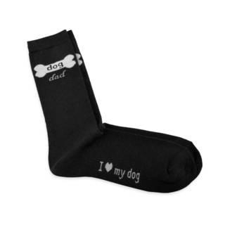 TeeHee Men's Dog Dad Cotton Black Crew Socks