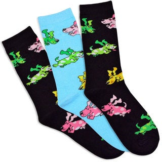 TeeHee Women's Colorful Puppies Cotton Multi-colored 3-pair Pack Crew Socks